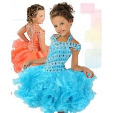 Cute Ball Short Turquoise Organza Ruffle Beaded Tutu Girl Pageant Prom Dress