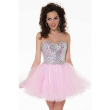 Cute Ball Strapless Short Pink Tulle Sequined Cocktail Party Prom Dress