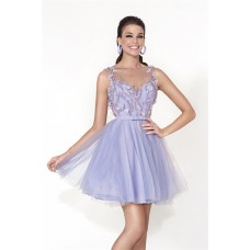 Cute Illusion Neckline Short Lavender Tulle Beaded Prom Dress With Sash