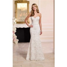 Cute Mermaid Sweetheart Floral Lace Wedding Dress With Crystals Belt Buttons