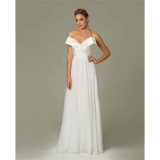 Cute Sweetheart Long White Chiffon Prom Evening Dress With Bow