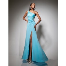 Designer One Shoulder Long Blue Chiffon Beading Prom Dress Backless Cut Out