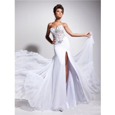 Designer Princess Sweetheart Long White Chiffon Corset Prom Dress Beading Flowers