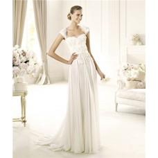 Designer Sheath Cap Sleeve Open Back Chiffon Beaded Lace Wedding Dress