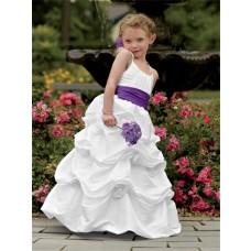 Designer Spaghetti Strap Floor Length White Taffeta Puffy Flower Girl Dress With Flowers Sash