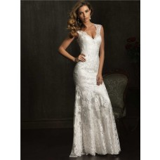 Dramatic Mermaid Cap Sleeve V Neck Lace Wedding Dress With Sheer Back