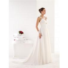 Elegant A Line Empire Waist Draped Chiffon Crystal Beach Wedding Dress With Straps