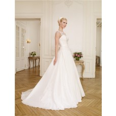 Elegant A Line Illusion Neckline Cap Sleeve Taffeta Lace Wedding Dress With Bow