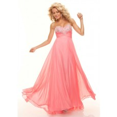 Elegant A-Line/Princess Sweetheart empire long coral chiffon prom dress with beading