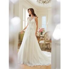 Elegant A Line Scoop Neckline Keyhole Open Back Chiffon Lace Wedding Dress