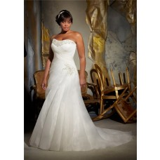 Elegant A Line Strapless Corset Back Ruched Organza Beading Plus Size Wedding Dress