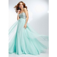 Elegant A Line Strapless Empire Waist Long Mint Green Chiffon Beaded Prom Dress