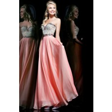 Elegant A Line Sweetheart Long Coral Chiffon Beading Crystal Prom Dress