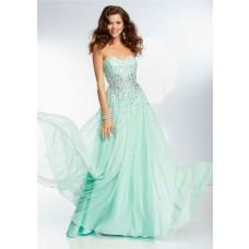 Elegant A Line Sweetheart Long Mint Green Chiffon Beaded Crystal Prom Dress