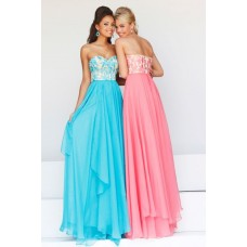 Elegant A Line Sweetheart Long Turquoise Chiffon Satin Embroidery Evening Prom Dress