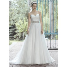 Elegant A Line Sweetheart Tulle Ruched Wedding Dress With Crystals Sash
