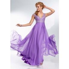 Elegant A Line V Neck Backless Long Lavender Purple Beading Prom Dress Open Back