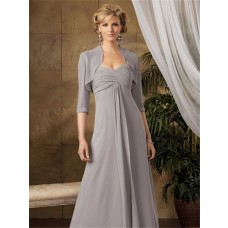 Elegant A line long grey chiffon mother of the bride dress with jacket