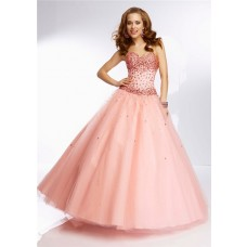 Elegant Ball Gown Sweetheart Coral Tulle Jewel Beaded Prom Dress Corset Back