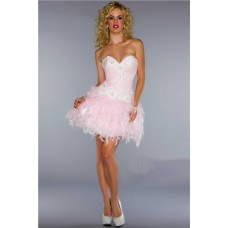 Elegant Ball Sweetheart Short/ Mini Light Pink Feather Cocktail Prom Dress