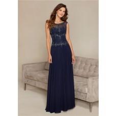 Elegant Bateau Neckline Sheer Back Long Navy Blue Chiffon Beaded Formal Evening Dress