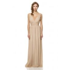 Elegant Deep V Neck Low Back Long Nude Champagne Chiffon Draped Occasion Bridesmaid Dress
