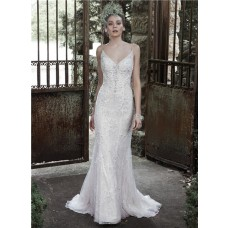 Elegant Fitted Sweetheart Low Back Lace Pearl Beaded Wedding Dress With Spaghetti Straps