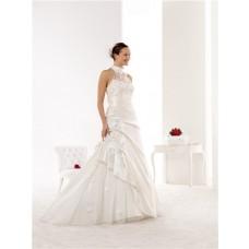 Elegant Mermaid High Neck Taffeta Lace Applique Beaded Wedding Dress