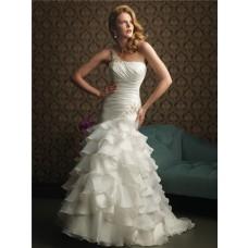 Elegant Mermaid One Shoulder Layered Organza Ruffles Wedding Dress With Ruching