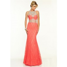 Elegant Mermaid Sleeveless Two Piece Coral Lace Beaded Prom Dress