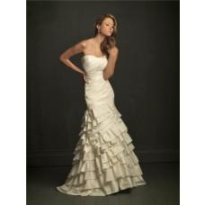 Elegant Mermaid Strapless Layered Ivory Taffeta Wedding Dress With Ruching Ruffles