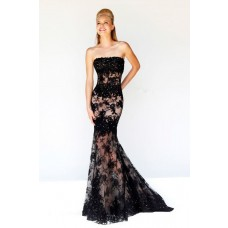 Elegant Mermaid Strapless Long Black Lace Beaded Occasion Evening Prom Dress