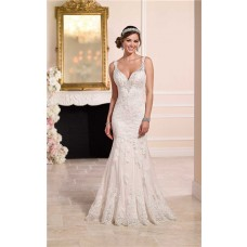 Elegant Mermaid Sweetheart Backless Vintage Lace Wedding Dress With Straps