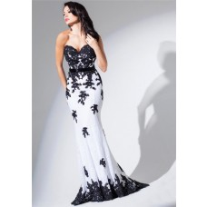 Elegant Mermaid Sweetheart White And Black Tulle Lace Long Prom Dress With Sash