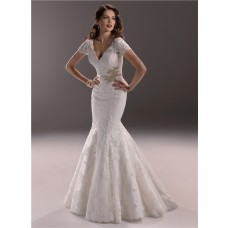 Elegant Mermaid V Neck Backless Vintage Lace Wedding Dress With Short Sleeve