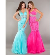 Elegant Mermaid V Neck Hot Pink Tulle Lace Beaded Prom Dress