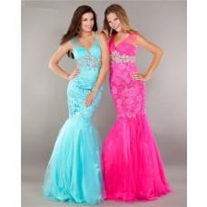 Elegant Mermaid V Neck Hot Pink Tulle Lace Beaded Prom Dress