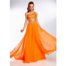 Elegant One Shoulder Long Neon Orange Chiffon Beaded Prom Dress Open Back