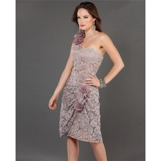 Elegant One Shoulder Short Grey Lace Evening Prom Dress With Flowers