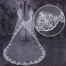 Elegant One Tier Tulle Lace Long Chapel Wedding Bridal Veil