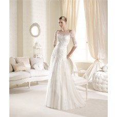 Elegant Princess A Line Illusion Neckline Off The Shoulder Lace Wedding Dress With Sleeves Buttons