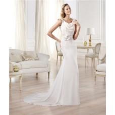 Elegant Sheath Bateau Neckline Open Back Beading Chiffon Wedding Dress