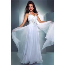 Elegant Sheath Halter Long White Chiffon Beaded Evening Prom Dress