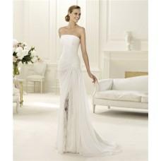 Elegant Sheath Strapless Ruched Chiffon Beach Wedding Dress With Lace Slit