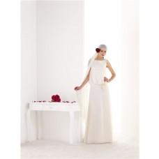 Elegant Sheath V Back Chiffon Flowers Bohemian Beach Wedding Dress Sweep Train