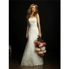 Elegant Simple A Line Strapless Lace Wedding Dress With Sash Train