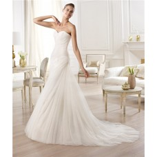 Elegant Simple A Line Sweetheart Ruched Tulle Wedding Dress With Draping