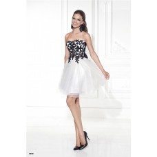 Elegant Strapless Short White Tulle Black Embroidery Party Prom Dress With Bow
