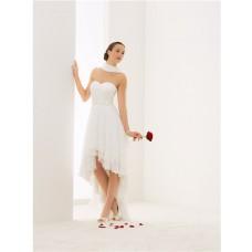 Elegant Strapless Sweetheart High Low Chiffon Outdoor Beach Wedding Dress