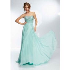 Elegant Strapless Sweetheart Neckline Long Mint Green Chiffon Beaded Prom Dress